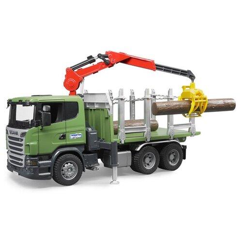 Купить Лесовоз Bruder Scania с портативным краном и брёвнами (03-524) 1:16 54 см зеленый, Машинки и техника