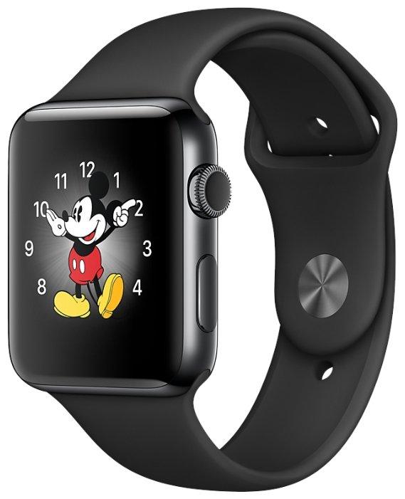 Apple Watch Series 2, 38 мм нержавеющая сталь/белый спортивный ремешок