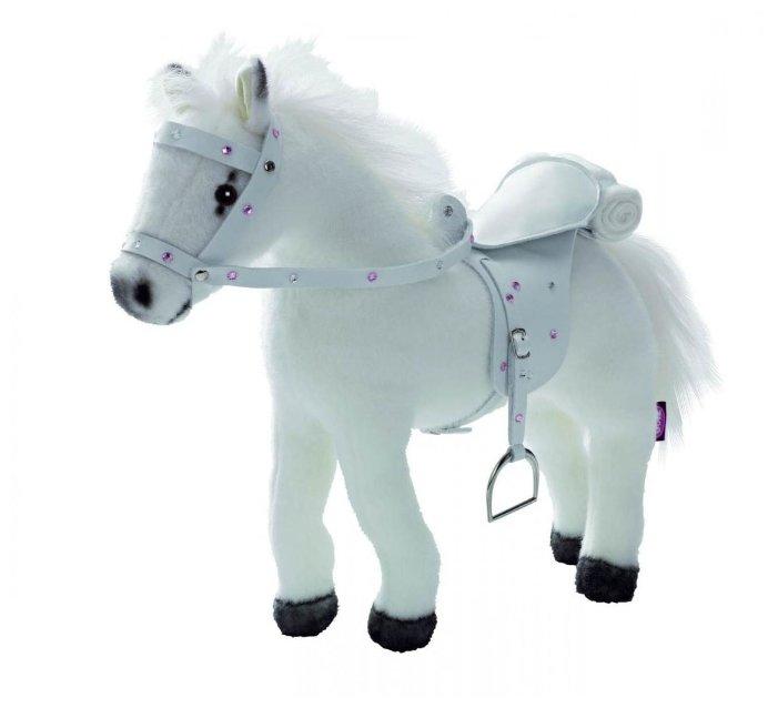 Мягкая игрушка Gotz Белая лошадь с седлом и уздечкой звук 40 см 3401485