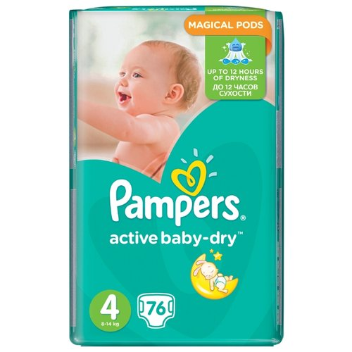 Pampers подгузники Active Baby-Dry 4 (8-14 кг) 76 шт. подгузники pampers active baby dry 5 11 16 кг 60 шт