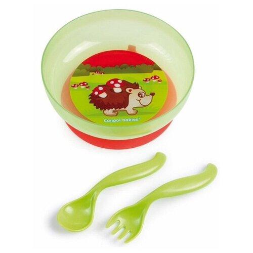 Тарелка Canpol Babies на присоске с крышкой (21/300) зеленый