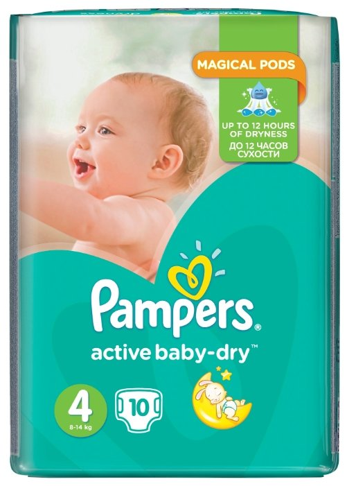 Pampers подгузники Active Baby-Dry 4 (8-14 кг) 10 шт.