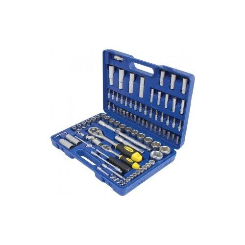 Набор автомобильных инструментов КАЛИБР (94 предм.) НСМ-94 серебристый/синий/черный/желтый набор автомобильных инструментов зубр 53 предм 27640 h53 серебристый черный