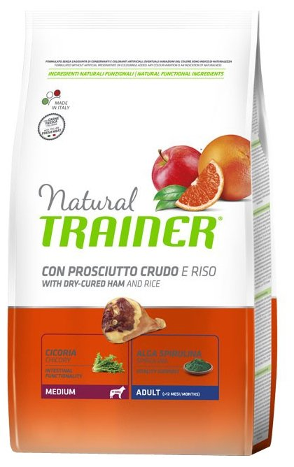 Корм для собак TRAINER Natural Adult Medium Dry-Cured Ham and rice dry