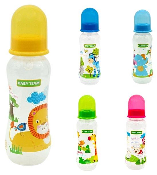 Baby Team Бутылочка с талией и силиконовой соской, 250 мл