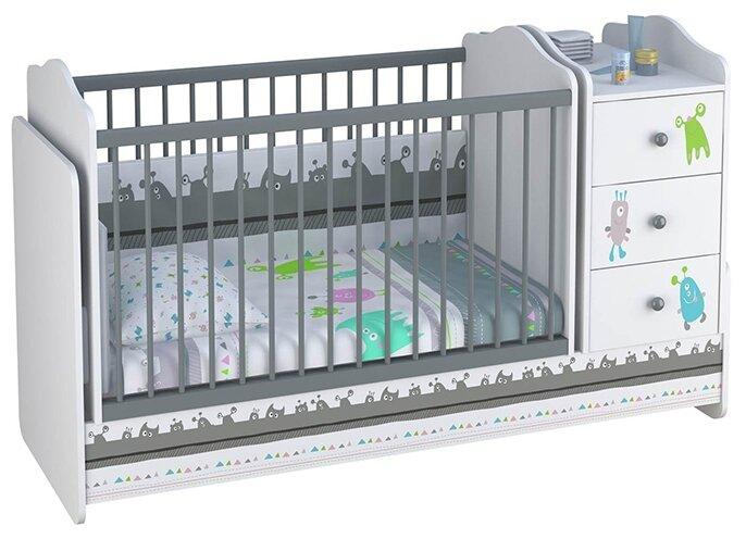 Кроватка Polini Basic Монстрики с комодом (трансформер)