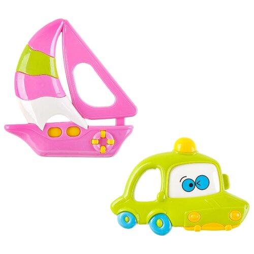 развивающая игрушка bondibon автомобиль корабль разноцветный Набор BONDIBON Автомобиль и корабль розовый/зеленый