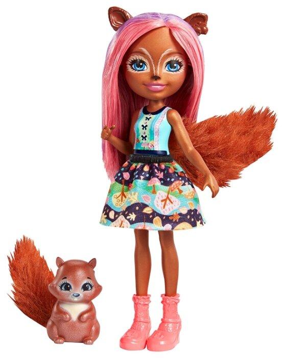 Кукла Enchantimals Санча Белка с любимой зверюшкой, 15 см, FMT61