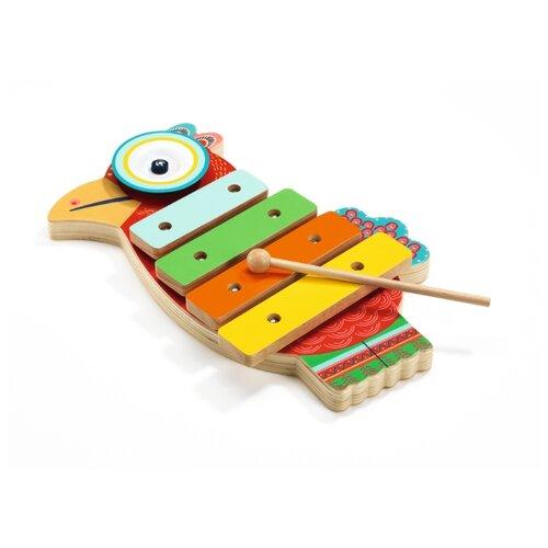 цена на DJECO ксилофон Animambo Петушок 06018 красный/зеленый/голубой