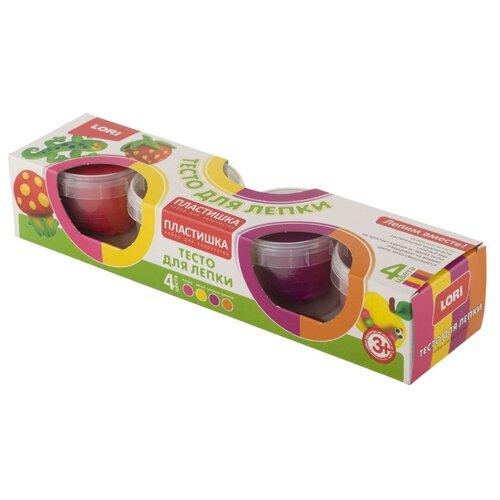 Купить Масса для лепки LORI Пластишка 11 - 4 цвета (Тдл-014), Пластилин и масса для лепки