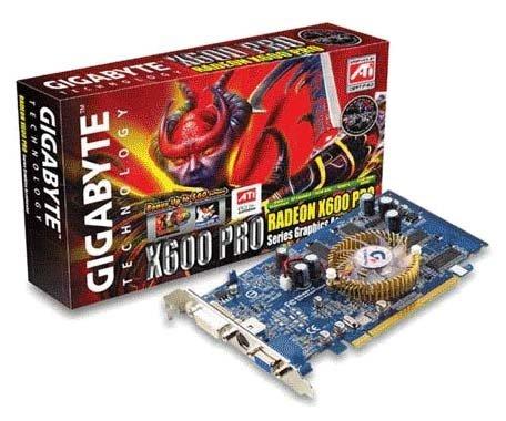 GIGABYTE Видеокарта GIGABYTE Radeon X600 Pro 400Mhz PCI-E 128Mb 600Mhz 128 bit DVI TV YPrPb