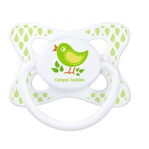 Купить Пустышка латексная классическая Canpol Babies Summertime 6-18 м (1 шт) зеленый, Пустышки и аксессуары