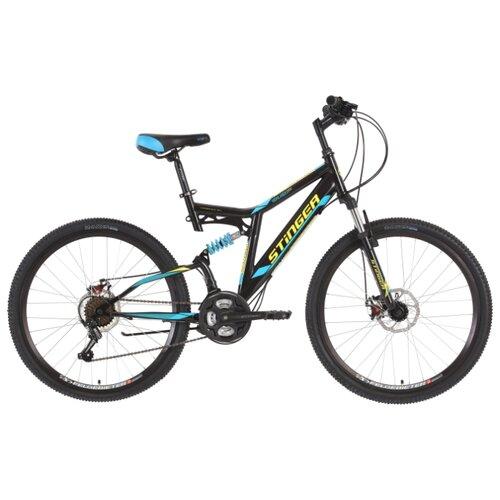 Горный (MTB) велосипед Stinger Highlander D 26 (2018) черный 16 (требует финальной сборки) велосипед stinger cruiser l 26 рама 16 5 синий 1 скорость