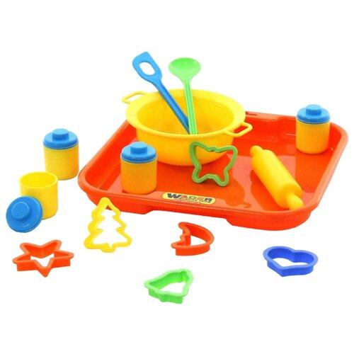 Купить Набор посуды Полесье для выпечки №1 с подносом 40749 оранжевый/желтый/синий, Игрушечная еда и посуда