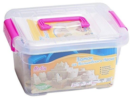Кинетический песок Molly Замок из волшебного песка M3503 голубые формочки 1 кг пластиковый контейнер