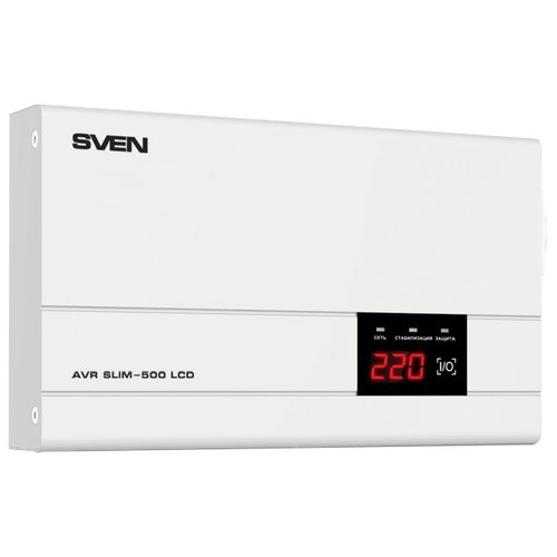 Стабилизатор напряжения однофазный SVEN AVR SLIM 500 LCD (0.4 кВт) стабилизатор напряжения однофазный solaris vsa 500 0 3 квт черный