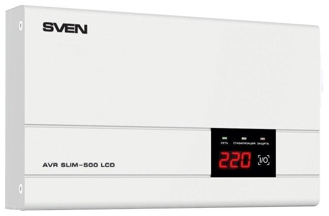 Стабилизатор напряжения однофазный SVEN AVR SLIM 500 LCD (0.4 кВт)