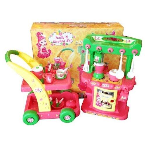Купить Кухня Shantou Gepai с сервировочным столиком HC01C желтый/зеленый/белый/розовый, Детские кухни и бытовая техника