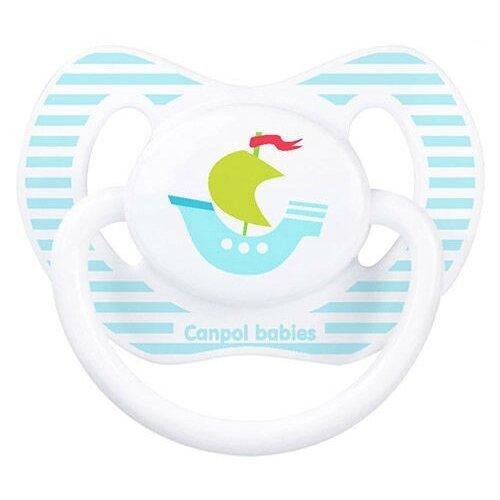 Купить Пустышка силиконовая ортодонтическая Canpol Babies Summertime 6-18 м (1 шт) белый/кораблик, Пустышки и аксессуары