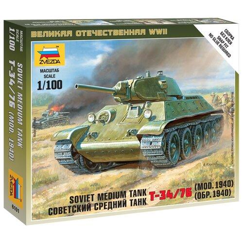 Сборная модель ZVEZDA Советский средний танк Т-34/76 (обр. 1940) (6101) 1:100 сборная модель zvezda советский средний танк т 34 76 обр 1942 г 3535pn 1 35
