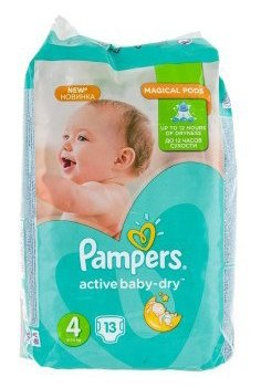 Pampers подгузники Active Baby-Dry 4 (8-14 кг) 13 шт.