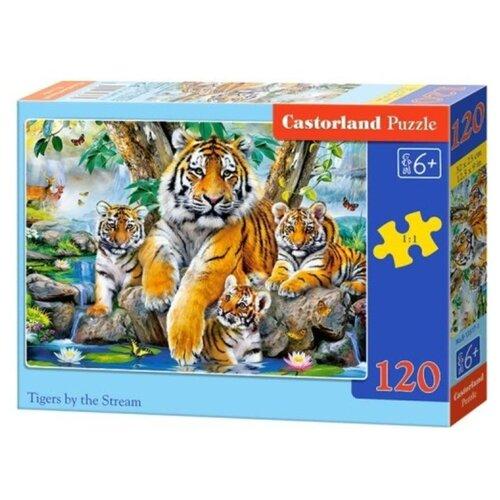 Купить Пазл Castorland Семья тигров у ручья (B-13517), 120 дет., Пазлы