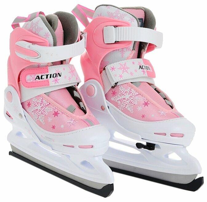Коньки ACTION PW-211F-1 р-р 38-41 Pink/White взрослые, женские