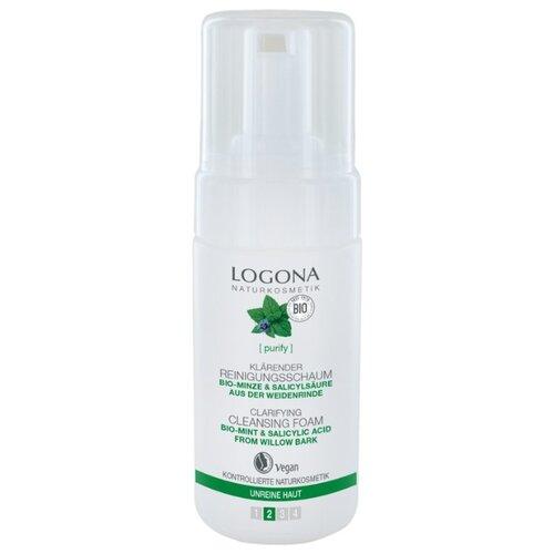 Купить Logona Очищающая пенка для выравнивания кожи лица с Био-Мятой и Салициловой кислотой из Коры Ивы, 100 мл
