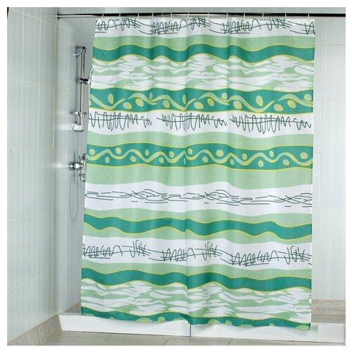Штора для ванной Aquarius Волна 180х200 белый/зеленый