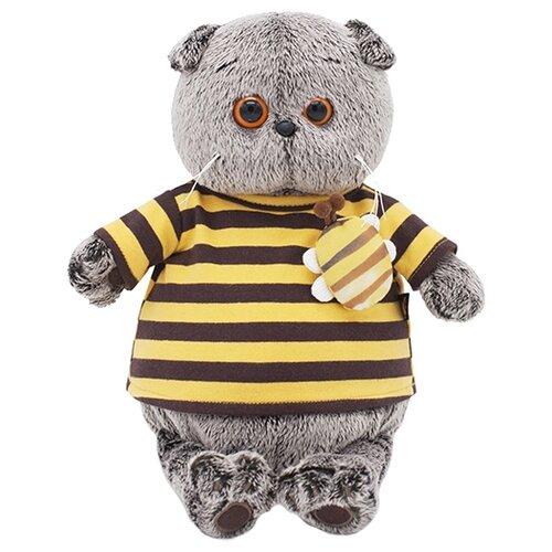 Купить Мягкая игрушка Basik&Co Кот Басик в полосатой футболке с пчелой 25 см, Мягкие игрушки