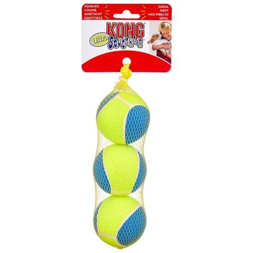 Мячик для собак KONG Ultra SqueakAir средний, 3 шт (AUT2E) желтый/синий