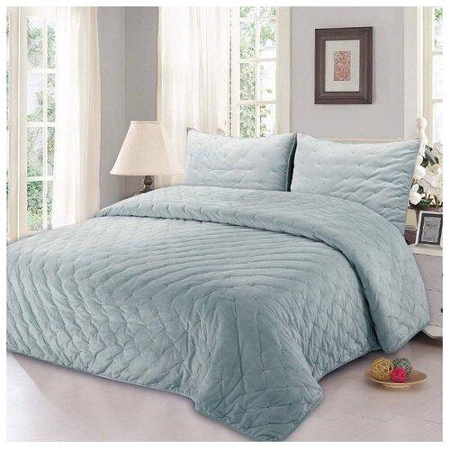 Комплект с покрывалом Sofi De MarkO Иоланта 240x260 см, голубой постельное бельё 1 5 сп sofi de marko постельное бельё 1 5 сп