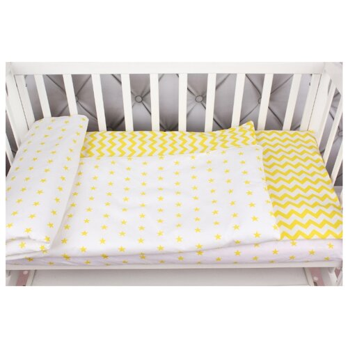Amarobaby комплект в кроватку Baby Boom Желтый зигзаг (3 предмета) желтый альвитек комплект динозаврики 3 предмета желтый зеленый