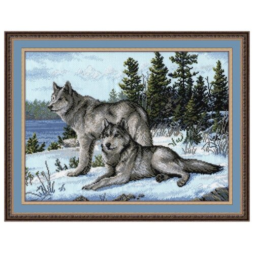 Овен Цветной Вышивка крестом Волки 40 х 30 см (567)Наборы для вышивания<br>