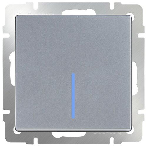 Выключатель 1-полюсный Werkel WL06-SW-1G-2W-LED,10А, серебристый werkel выключатель одноклавишный проходной с подсветкой серебряный wl06 sw 1g 2w led 4690389053863