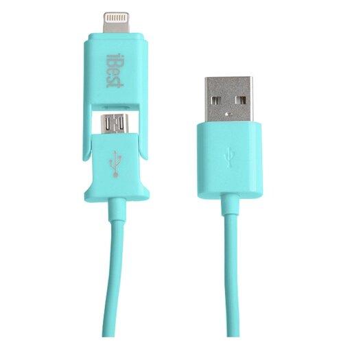 Кабель iBest USB - microUSB/Lightning (iPW10) 1 м голубой usb кабель usb10 03bp белый microusb lightning 1м