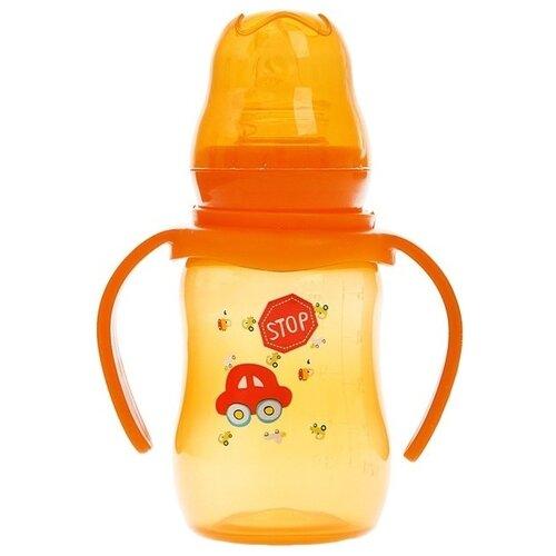 Купить Крошка Я Бутылочка для кормления цветная с ручками, 150 мл с рождения, оранжевый, Бутылочки и ниблеры