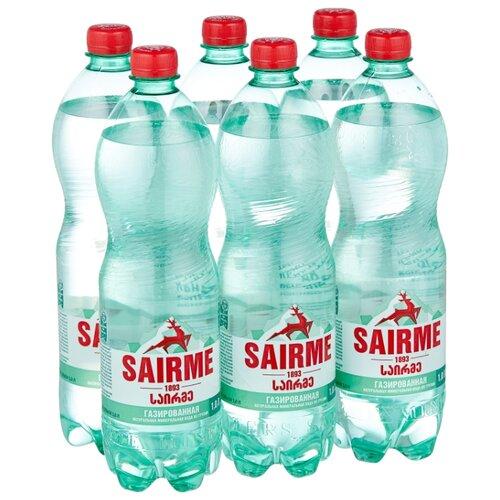 Вода минеральная лечебно-столовая Sairme газированная ПЭТ, 6 шт. по 1 л вода минеральная калинов родник газированная пэт 6 шт по 1 5 л