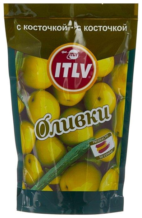 ITLV Оливки зеленые с косточкой в рассоле, пластиковый пакет 195 г