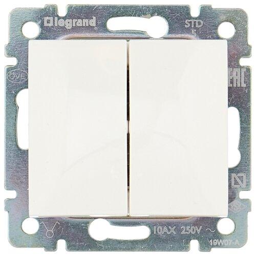 Выключатель 2х1-полюсный Legrand Valena 774405,10А, белый выключатель 2х1 полюсный legrand valena allure 752905 10а алюминиевый