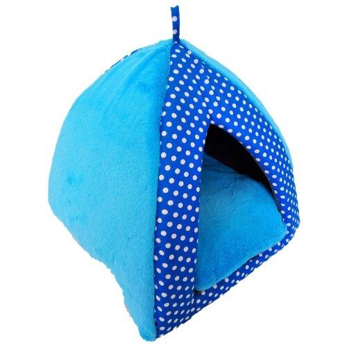 Домик для собак и кошек LOORI Вигвам Дуэт 35х35х37 см голубой