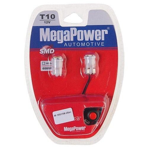 Фото - Лампа автомобильная светодиодная MegaPower 10511W-2блт W5W (T10) 12V 10W 2 шт. 2pcs t10 w5w 80w cree xqb chip led hid