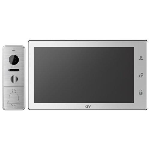 Комплектная дверная станция (домофон) CTV CTV-DP4102AHD серебро (дверная станция) белый (домофон)