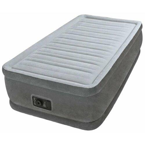 Надувная кровать Intex Comfort-Plush (64412) светло-серый/темно-серый intex кровать comfort plush 99х191х46 см со встроенным насосом 220в