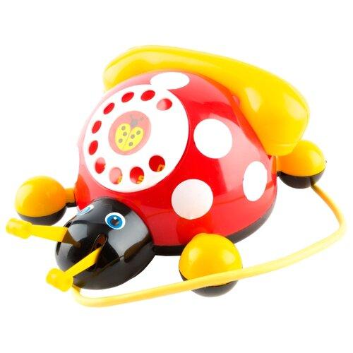 Купить Каталка-игрушка Пластмастер Божья коровка (12111) со звуковыми эффектами красный/желтый, Каталки и качалки
