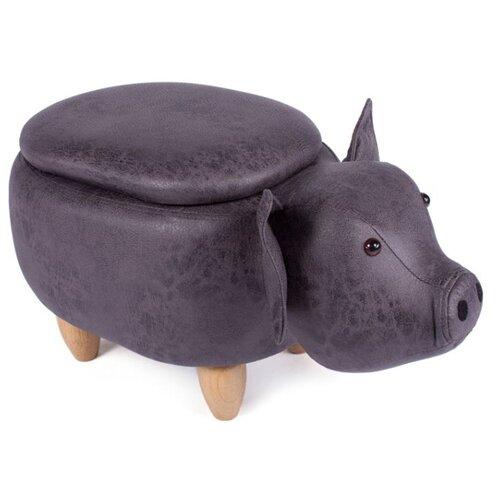 Пуфик с ящиком для хранения BRADEX HOME Поросёнок искусственная кожа темно-серый пуфик с ящиком для хранения тематика складной рогожка коричневый
