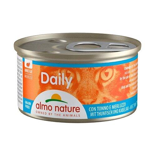 Фото - Корм для кошек Almo Nature Daily Menu с тунцом, с треской 85 г консервы для кошек almo nature нежный мусс с уткой 85 г