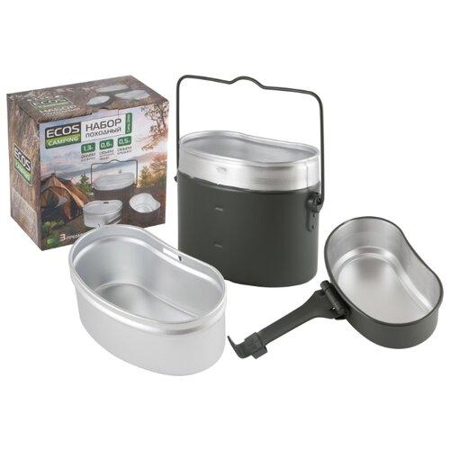 Набор туристической посуды ECOS Camp-2032, 3 шт. хром/черный