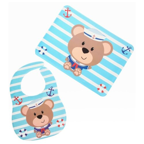 Крошка Я Набор для кормления, 2 предмета: нагрудник непромокаемый, коврик для кормления, 2 шт., расцветка: мишка/голубой слюнявчики для кормления be2me b2m0030 2
