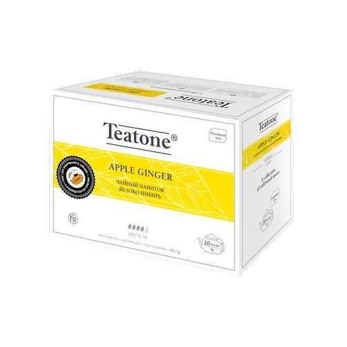 Чайный напиток травяной Teatone Apple ginger в пакетиках для чайника, 20 шт.